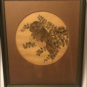 VINTAGE 1977-YVONNE DAVIS 'OWL ON A BRANCH'